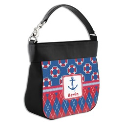 Buoy & Argyle Print Hobo Purse w/ Genuine Leather Trim (Personalized)