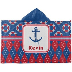 Buoy & Argyle Print Kids Hooded Towel (Personalized)