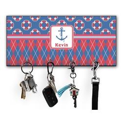 Buoy & Argyle Print Key Hanger w/ 4 Hooks w/ Graphics and Text
