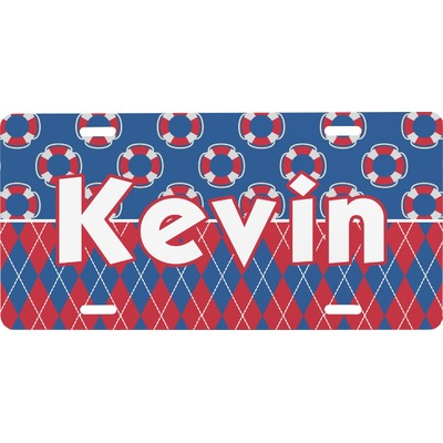 Buoy & Argyle Print Front License Plate (Personalized)