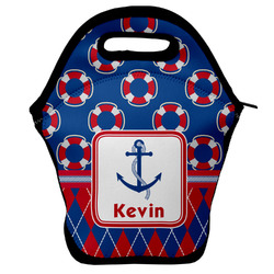 Buoy & Argyle Print Lunch Bag w/ Name or Text