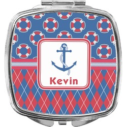 Buoy & Argyle Print Compact Makeup Mirror (Personalized)