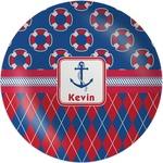 Buoy & Argyle Print Melamine Plate (Personalized)