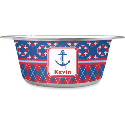 Buoy & Argyle Print Stainless Steel Dog Bowl (Personalized)