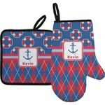Buoy & Argyle Print Oven Mitt & Pot Holder (Personalized)
