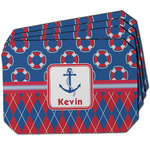 Buoy & Argyle Print Dining Table Mat - Octagon w/ Name or Text