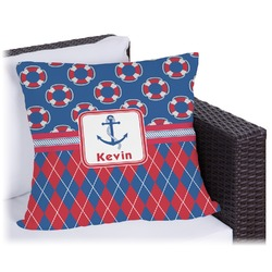 Buoy & Argyle Print Outdoor Pillow (Personalized)