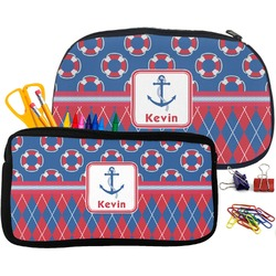 Buoy & Argyle Print Pencil / School Supplies Bag (Personalized)