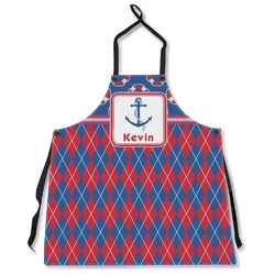 Buoy & Argyle Print Apron Without Pockets w/ Name or Text