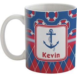 Buoy & Argyle Print Coffee Mug (Personalized)