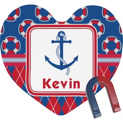 Buoy & Argyle Print Heart Fridge Magnet (Personalized)