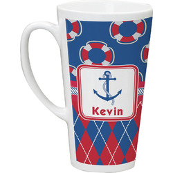 Buoy & Argyle Print Latte Mug (Personalized)