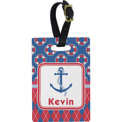Buoy & Argyle Print Rectangular Luggage Tag (Personalized)