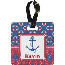 Buoy & Argyle Print Square Luggage Tag (Personalized)