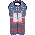 Buoy & Argyle Print Wine Tote Bag (2 Bottles) (Personalized)