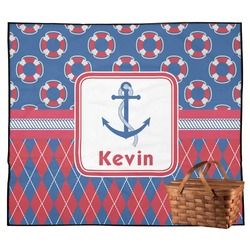Buoy & Argyle Print Outdoor Picnic Blanket (Personalized)