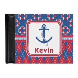 Buoy & Argyle Print Genuine Leather Guest Book (Personalized)