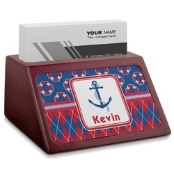 Buoy & Argyle Print Red Mahogany Business Card Holder (Personalized)