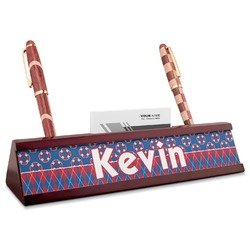 Buoy & Argyle Print Red Mahogany Nameplate with Business Card Holder (Personalized)
