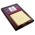 Buoy & Argyle Print Red Mahogany Sticky Note Holder (Personalized)