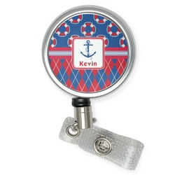 Buoy & Argyle Print Retractable Badge Reel (Personalized)