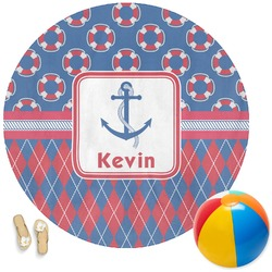 Buoy & Argyle Print Round Beach Towel (Personalized)