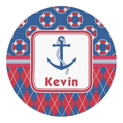 Buoy & Argyle Print Round Decal (Personalized)