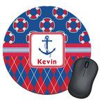 Buoy & Argyle Print Round Mouse Pad (Personalized)