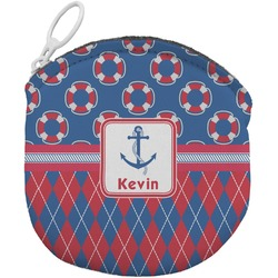 Buoy & Argyle Print Round Coin Purse (Personalized)