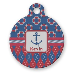 Buoy & Argyle Print Round Pet Tag (Personalized)
