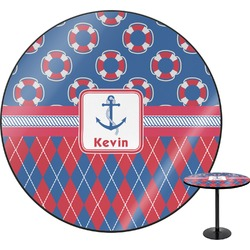 "Buoy & Argyle Print Round Table - 30"" (Personalized)"
