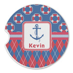 Buoy & Argyle Print Sandstone Car Coasters (Personalized)