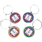 Buoy & Argyle Print Wine Charms (Set of 4) (Personalized)