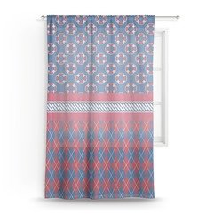 Buoy & Argyle Print Sheer Curtains (Personalized)