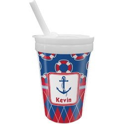 Buoy & Argyle Print Sippy Cup with Straw (Personalized)