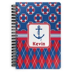 Buoy & Argyle Print Spiral Bound Notebook (Personalized)
