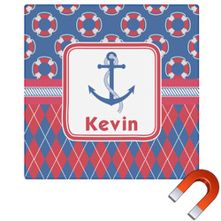 Buoy & Argyle Print Square Car Magnet (Personalized)