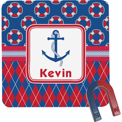 Buoy & Argyle Print Square Fridge Magnet (Personalized)