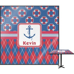 Buoy & Argyle Print Square Table Top (Personalized)