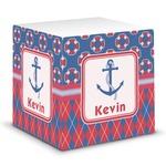 Buoy & Argyle Print Sticky Note Cube (Personalized)