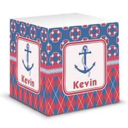 Buoy & Argyle Print Sticky Note Cube (Personalized)