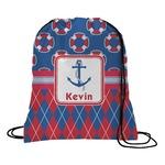 Buoy & Argyle Print Drawstring Backpack (Personalized)