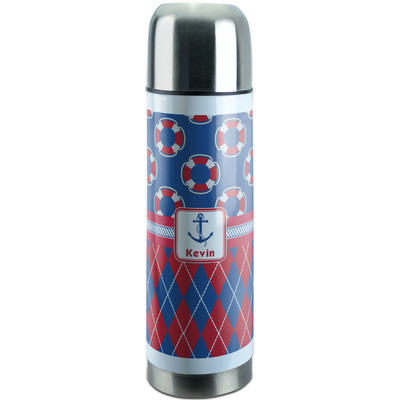 Buoy & Argyle Print Stainless Steel Thermos (Personalized)