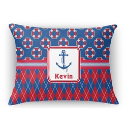 Buoy & Argyle Print Rectangular Throw Pillow Case (Personalized)