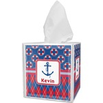 Buoy & Argyle Print Tissue Box Cover (Personalized)