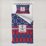 Buoy & Argyle Print Toddler Bedding w/ Name or Text