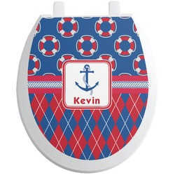 Buoy & Argyle Print Toilet Seat Decal (Personalized)