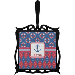 Buoy & Argyle Print Trivet with Handle (Personalized)