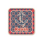 Buoy & Argyle Print Genuine Maple or Cherry Wood Sticker (Personalized)