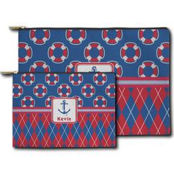 Buoy & Argyle Print Zipper Pouch (Personalized)